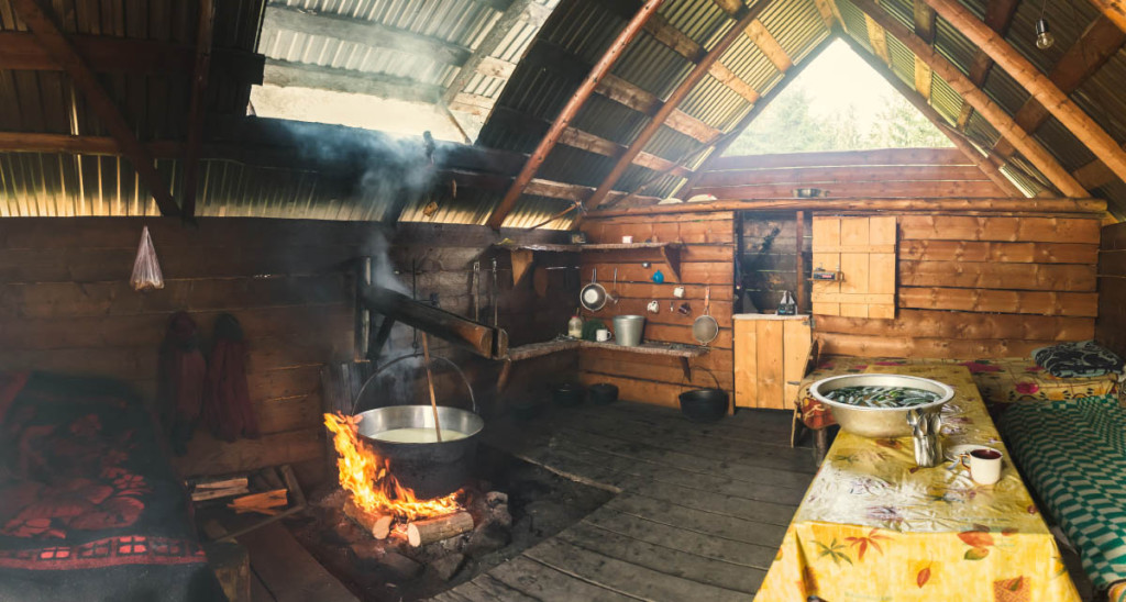 Traditional mountain house of cheese makers.
