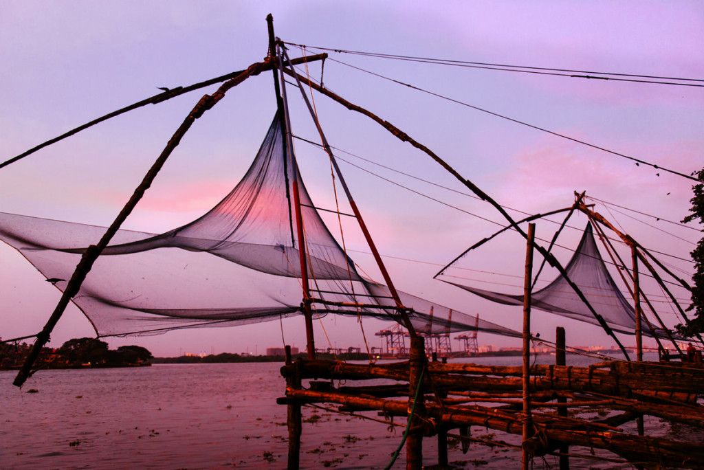 Chinese fishing nets on sunset background in Cochin (Kochi), Kerala, India