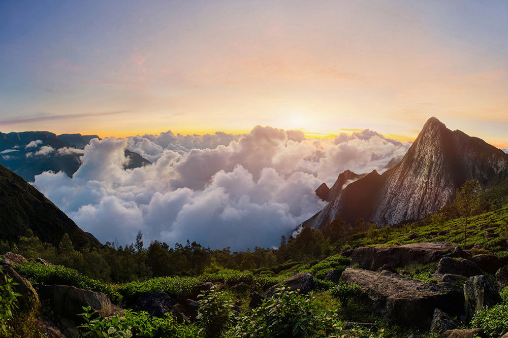 Early morning in the mountain at sunrise with flowing clouds. View on Meesapulimala peak in West Ghats. Kolukkumalai tea estate point shooting. Kerala, Tamilnadu, India
